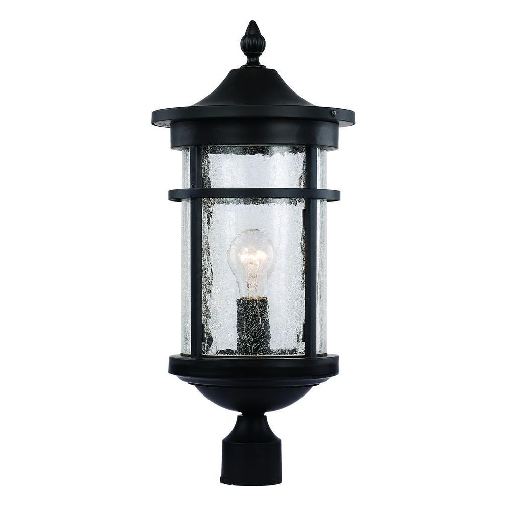 Bel Air Lighting 1-Light Black Outdoor Crackled Outdoor Post Lantern