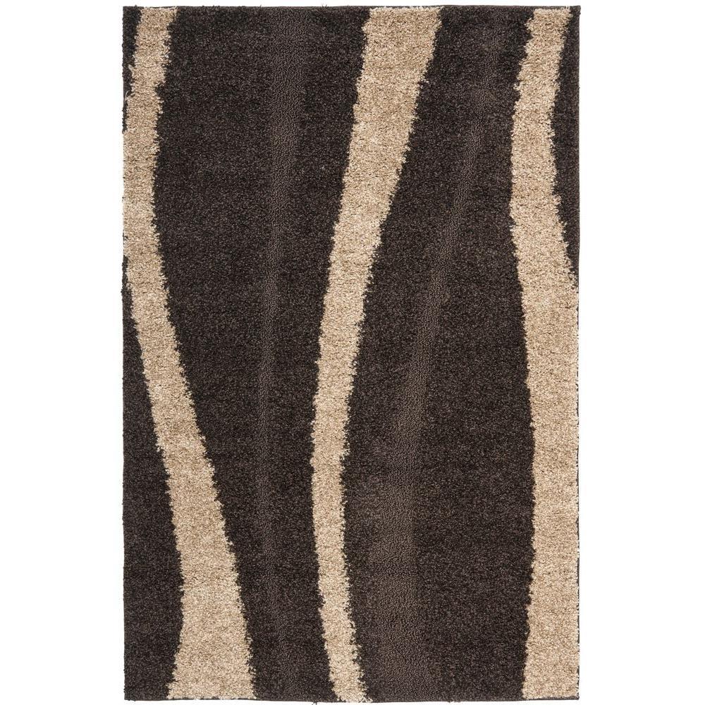Safavieh Florida Shag Dark Brown/Beige 3 ft. 3 in. x 5 ft. 3 in. Area Rug