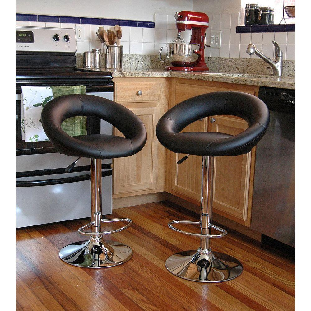 AmeriHome Adjustable Height Black Swivel Cushioned Bar Stool (Set of 2)