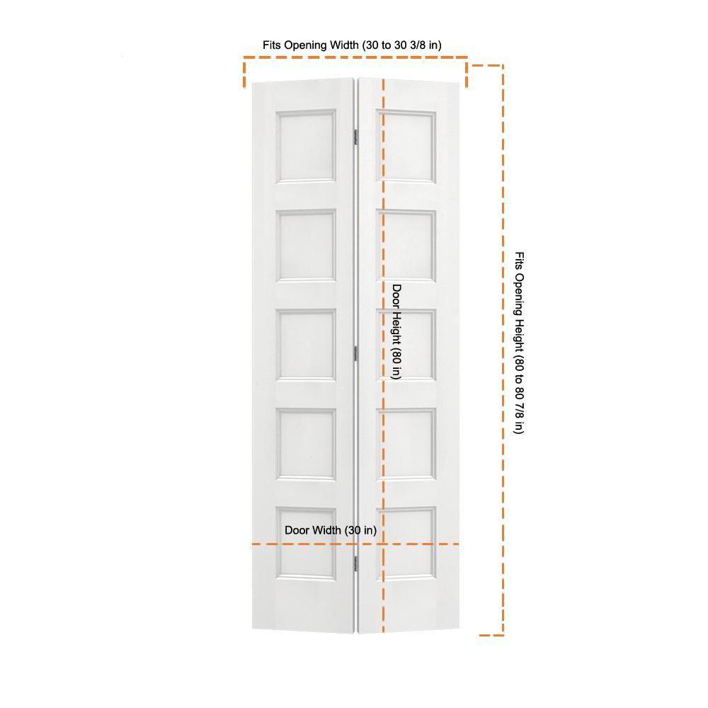 Jeld Wen 30 In X 80 In Conmore White Paint Smooth Hollow Core Molded Composite Interior Closet Bi Fold Door