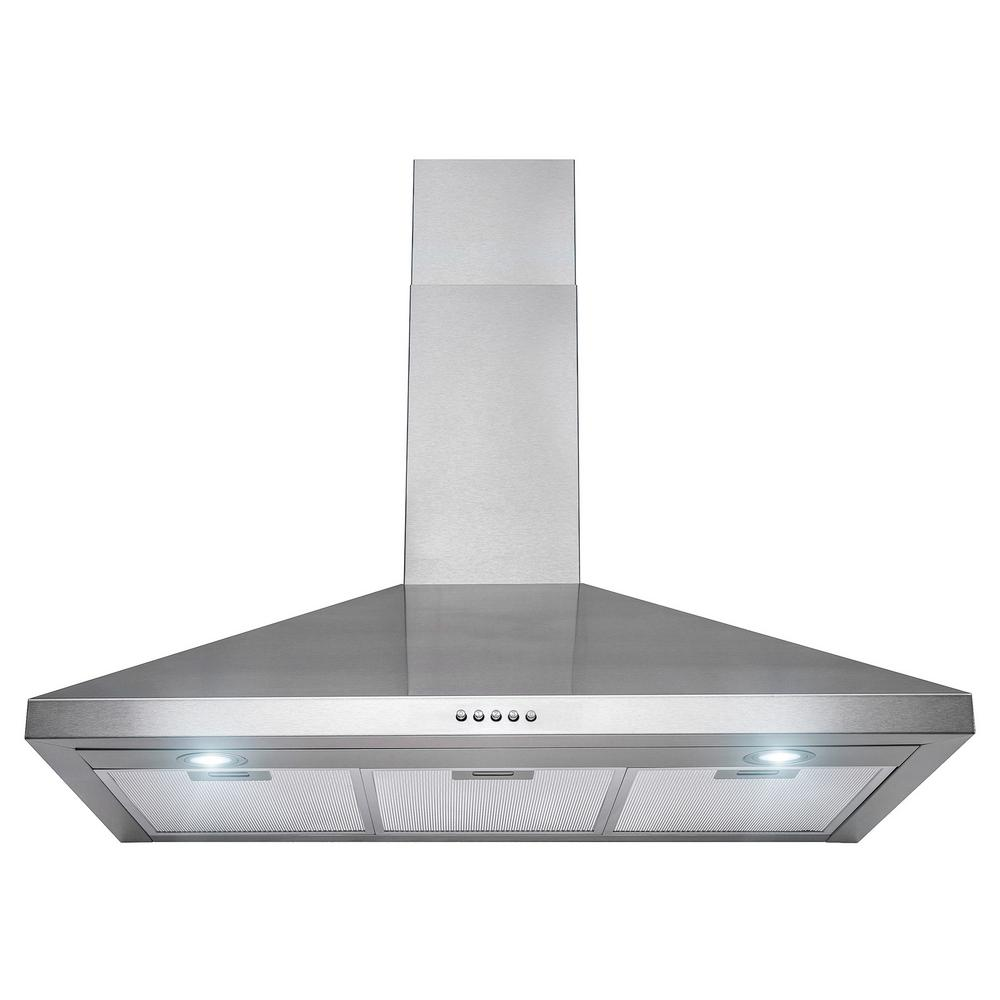 Akdy 36 In Convertible Wall Mount Range Hood Stainless Steel With On Controls