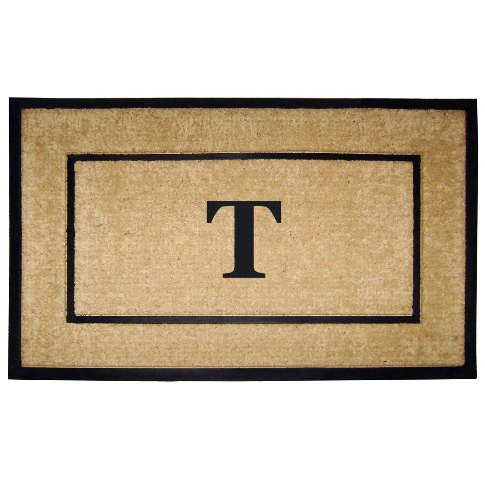 Nedia Home DirtBuster Single Picture Frame Black 30 in. x 48 in. Coir with Rubber Border Monogrammed T Door Mat