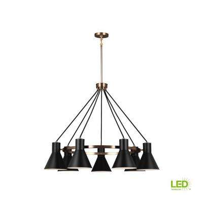 Towner 7-Light Black Shade with Satin Bronze Accents Chandelier with LED Bulbs