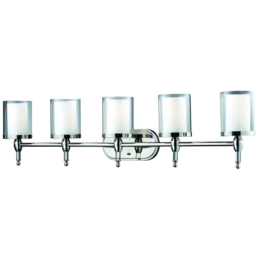 Filament Design Lawrence 5 Light Chrome Steel Nautical Bath Light With Clear Outside Matte Opal