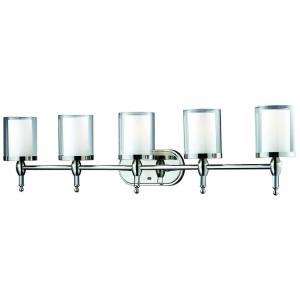 Lawrence 5-Light Chrome Steel Nautical Bath Light with Clear Outside, Matte Opal Inside Glass Shades