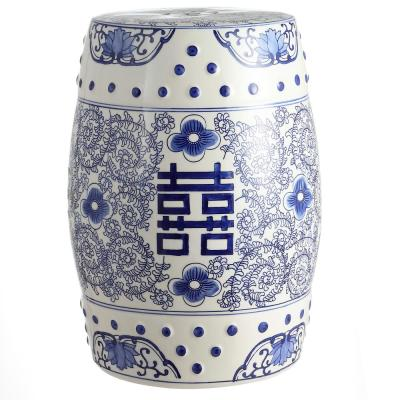 18 in. Blue/White Chinoiserie Ceramic Drum Double Happiness Garden Stool