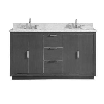 Austen 61 in. W x 22 in. D Bath Vanity in Gray with Silver Trim with Marble Vanity Top in Carrara White with Basins