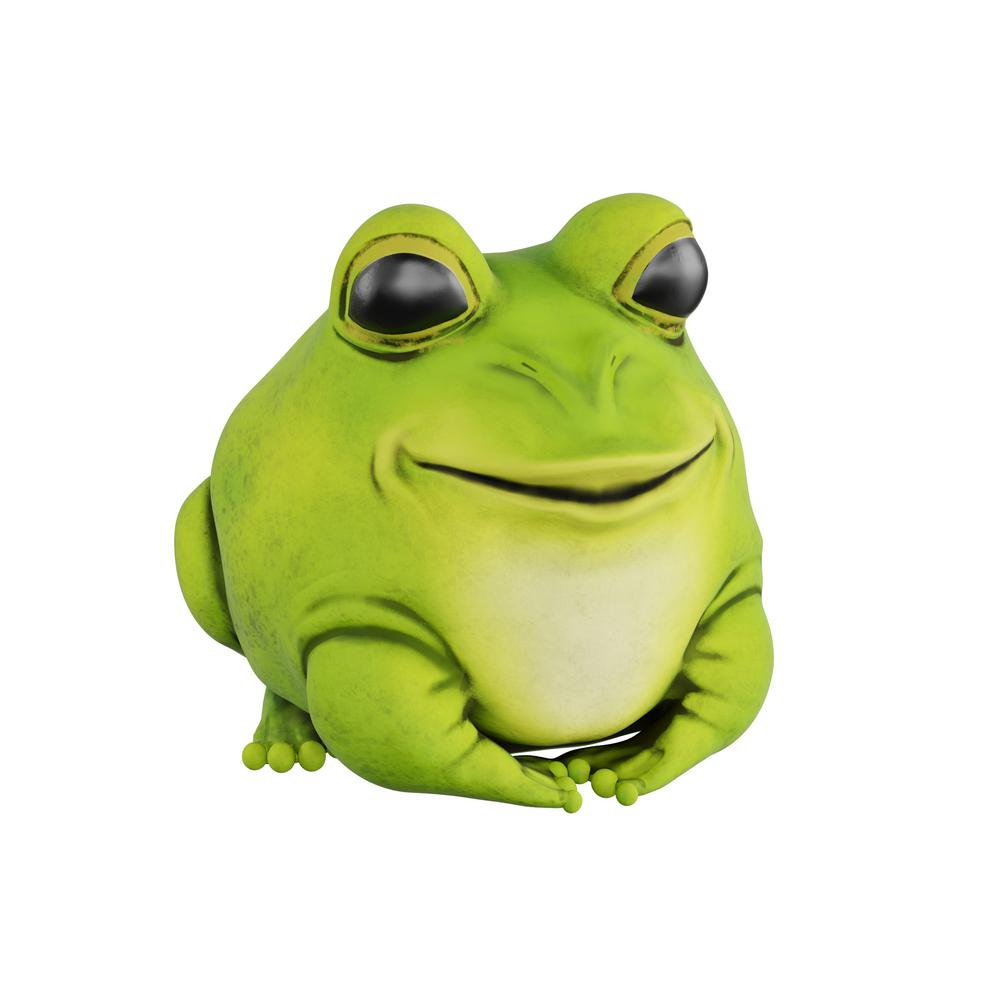 Pure Garden Lawn and Garden Frog Statue The Lawn and Garden Frog Statue by Pure Garden is a beautiful addition to any outdoor space. The chubby frog statue is adorably round with vibrant colors and a sly smile, its a wonderful conversation piece that adds a whimsical touch to any flower bed, fairy garden, backyard, or front porch. Made from a durable high-quality polyresin material that is designed to prevent cracks, chips and fading, this frog statuary will withstand any weather conditions. This delightful animal figurine is a fun and unique way to add a little fun to any home or garden.
