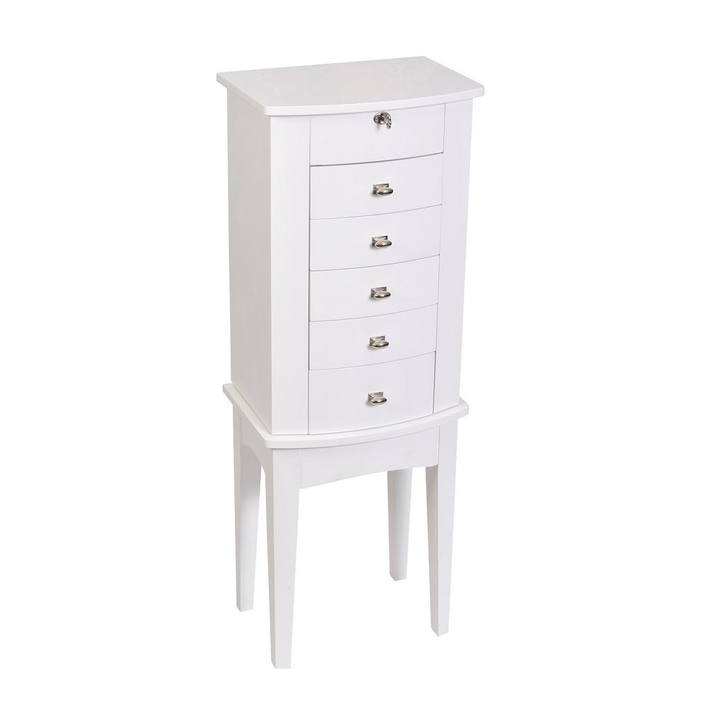 Hadley White Wooden Jewelry Armoire