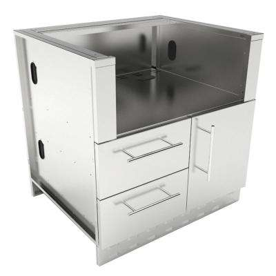Designer Series 304 Stainless Steel 34 in. x 34.5 in. x 28.25 in. Drop in Charcoal Grill Base Cabinet