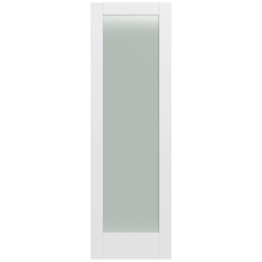 Jeld-Wen 32 in. x 96 in. Moda Primed PMT1011 Solid Core Wood Interior Door Slab w/Translucent Glass