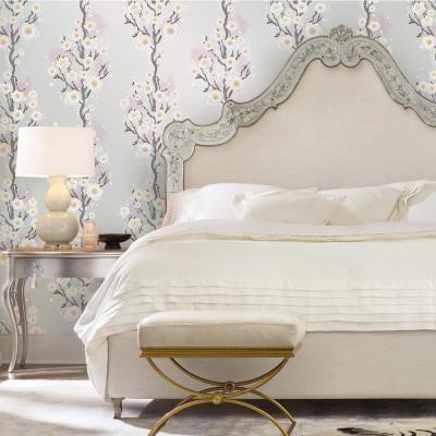 Cynthia Rowley Cherry Blossoms Silver Peel and Stick Wallpaper 60 sq. ft.