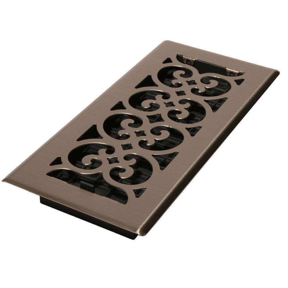 4 in. x 14 in. Steel Floor Register in Brushed Nickel-SPH414-NKL ...