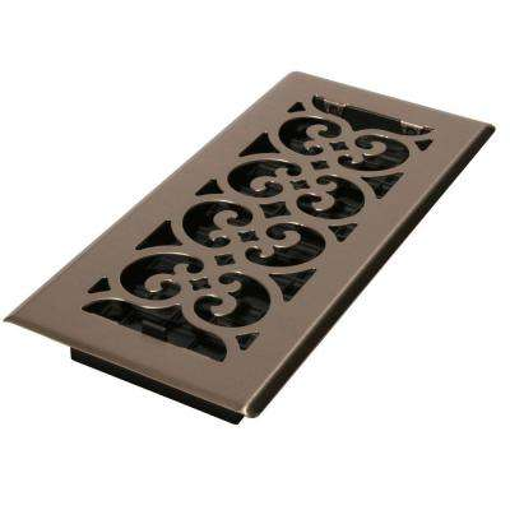 4 in. x 14 in. Steel Floor Register in Brushed Nickel