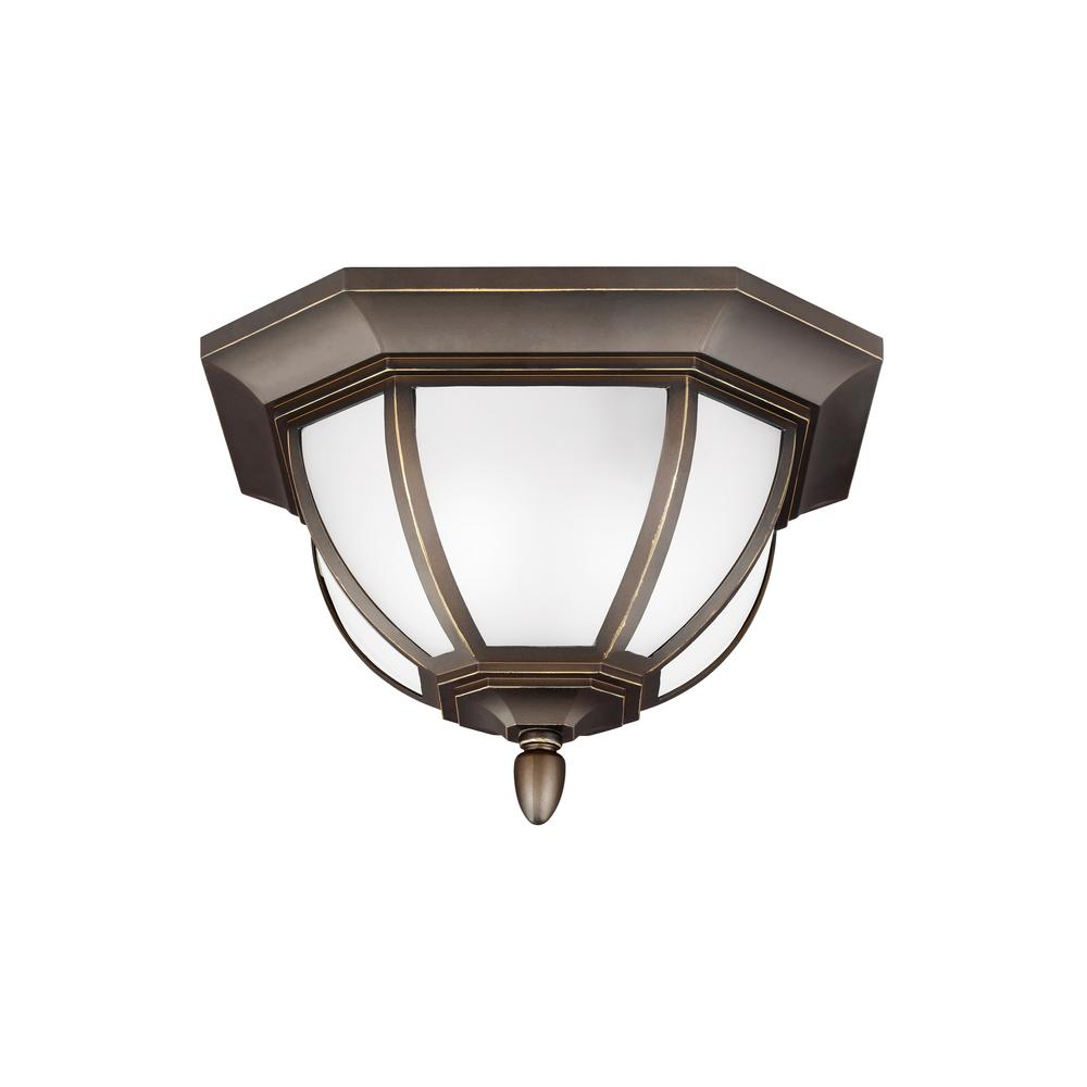 Outdoor flush mount lights outdoor ceiling lighting the home depot childress antique bronze 2 light outdoor flush mount aloadofball Images