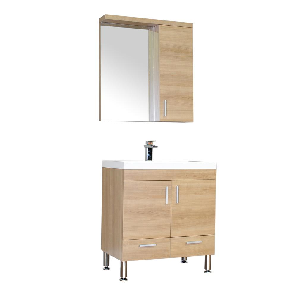 The Modern 29.35 in. W x 18.75 in. D Bath Vanity in Light Oak w/ Acrylic Vanity Top in White w/ White Basin and Mirror
