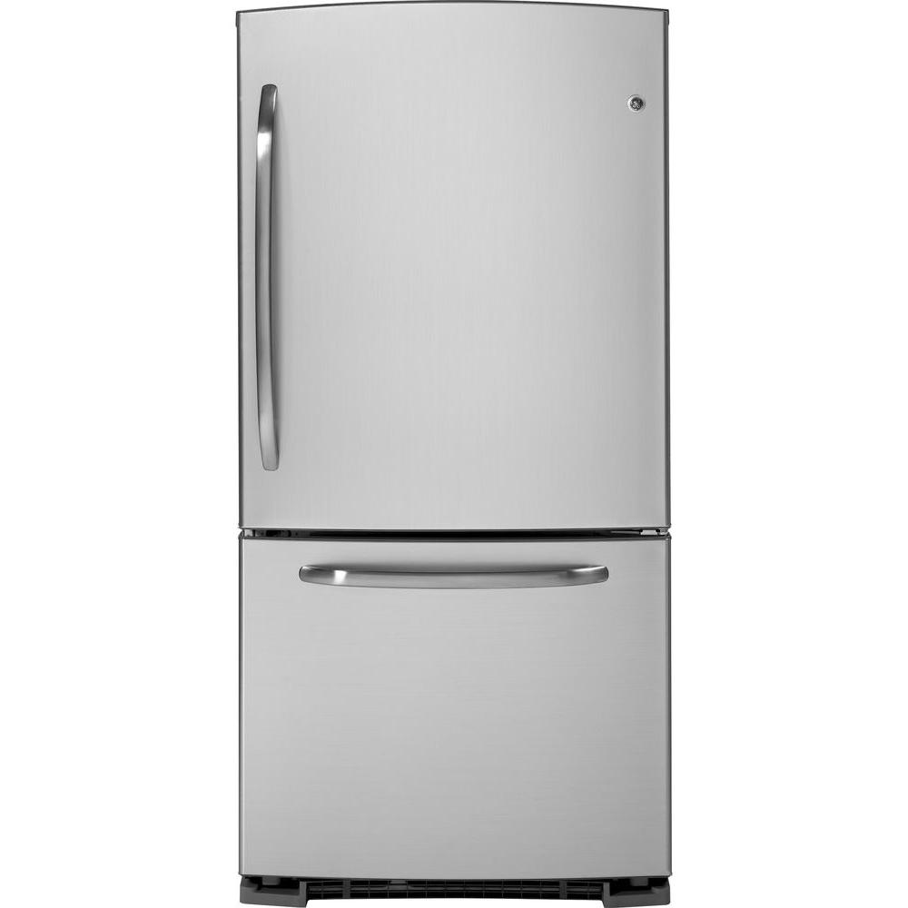 GE 33 in.W 22.7 cu. ft. Bottom Freezer Refrigerator in CleanSteel