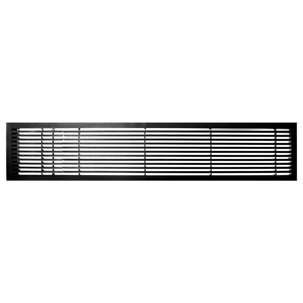 Architectural Grille AG20 Series 6 in. x 48 in. Solid Aluminum Fixed Bar Supply/Return Air Vent Grille, Black-Matte with Left Door