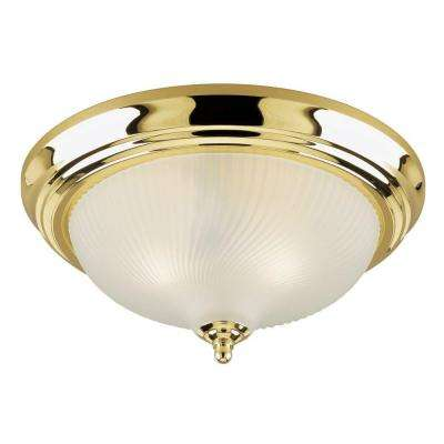 2-Light Ceiling Fixture Polished Brass Interior Flush-Mount with Frosted Swirl Glass