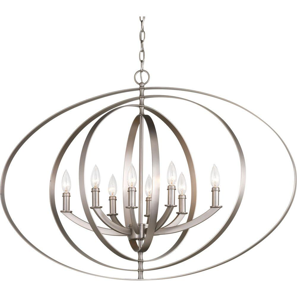 Progress Lighting Equinox Collection 8 Light Burnished Silver Orb Chandelier