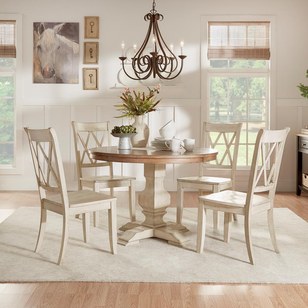 HomeSullivan Sawyer 5 Piece Antique White Mission X Dining Set