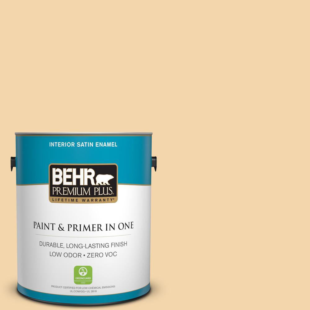 1 gal. #PPU6-08 Pale Honey Zero VOC Satin Enamel Interior Paint
