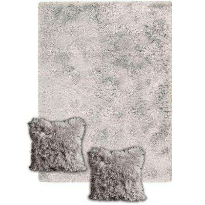Three's Company Silver Tone 5 ft. x 7 ft. Area Rug with 2 Matching 14 in. x 14 in. Pillows
