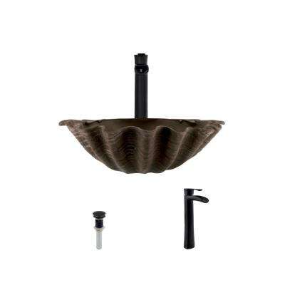 Vessel Sink in Bronze with 731 Faucet and Pop-Up Drain in Antique Bronze