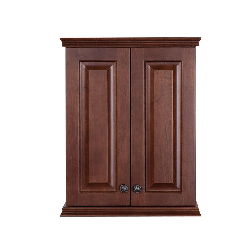 St. Paul Summit 22 in. W x 28 in. H x 9 in. D Over the Toilet Bathroom Storage Wall Cabinet in Auburn