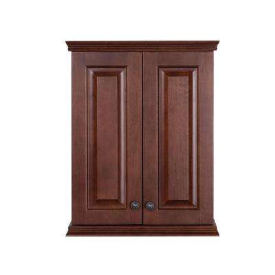 Summit 22 in. W x 28 in. H x 9 in. D Over the Toilet Bathroom Storage Wall Cabinet in Auburn