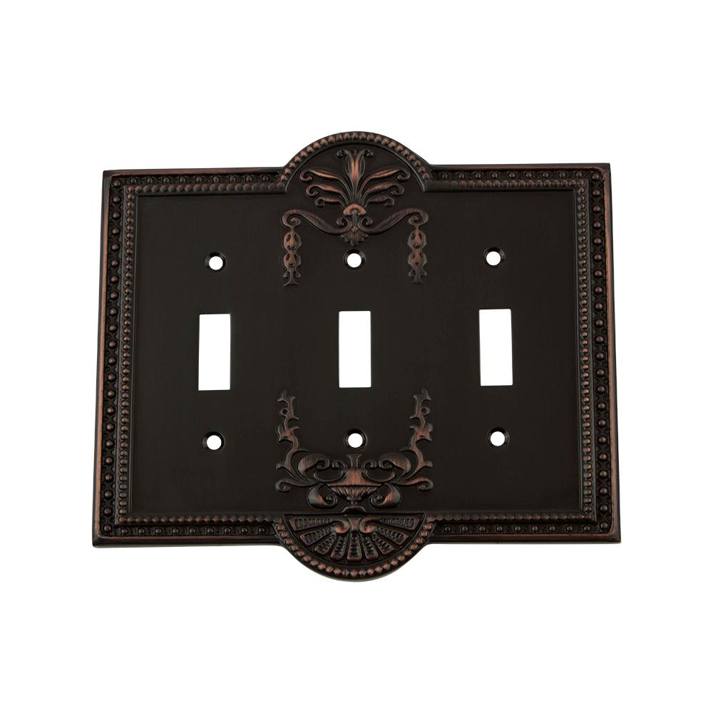 Meadows Switch Plate with Triple Toggle in Timeless Bronze