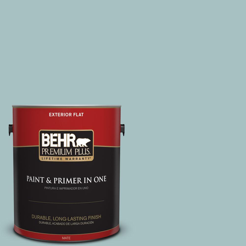 BEHR Premium Plus 1-gal. #500F-4 Swan Sea Flat Exterior Paint