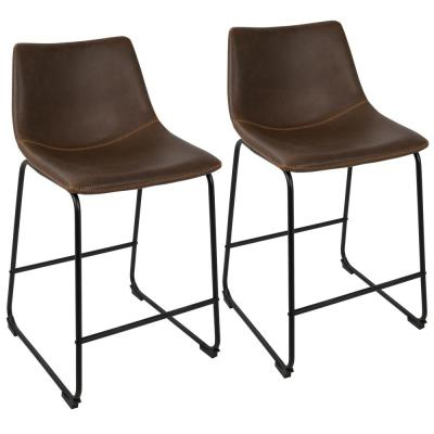 Duke Black and Espresso Industrial Counter Stool