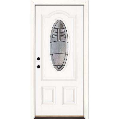 33.5 in. x 81.625 in. Rochester Patina 3/4 Oval Lite Unfinished Smooth Right-Hand Inswing Fiberglass Prehung Front Door