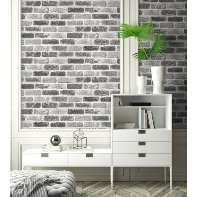 Grey Washed Brick Peel and Stick Wallpaper