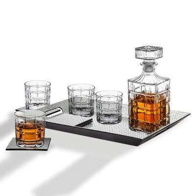 34 oz. Silver & Plaid Decanter and 10 oz. DOF Whiskey Glasses (10-Piece Set)