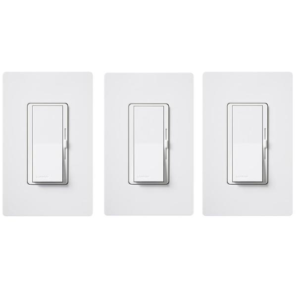 Diva LED+ Dimmer Switch for Dimmable LED, Halogen/Incandescent with Wallplate, Single-Pole/3-Way, White (3-Pack)
