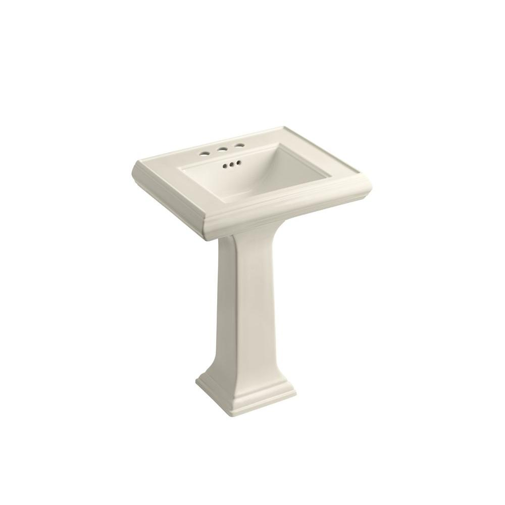 Memoirs Ceramic Pedestal Combo Bathroom Sink in Almond with Overflow Drain