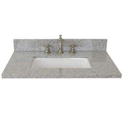 Ragusa II 31 in. W x 22 in. D Granite Single Basin Vanity Top in Gray with White Rectangle Basin