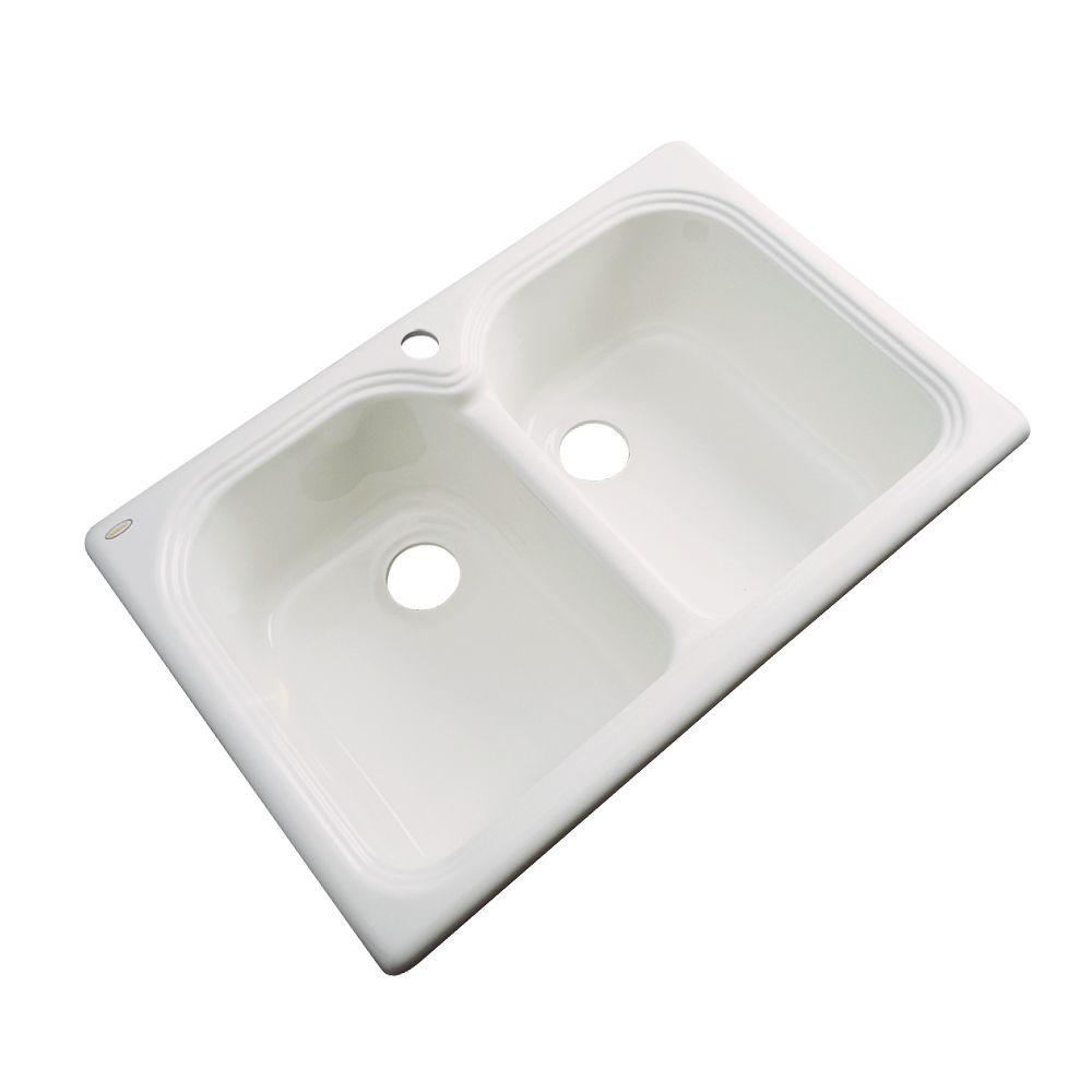 Thermocast Hartford Drop-In Acrylic 33 in. 1-Hole Double Bowl Kitchen Sink in Natural