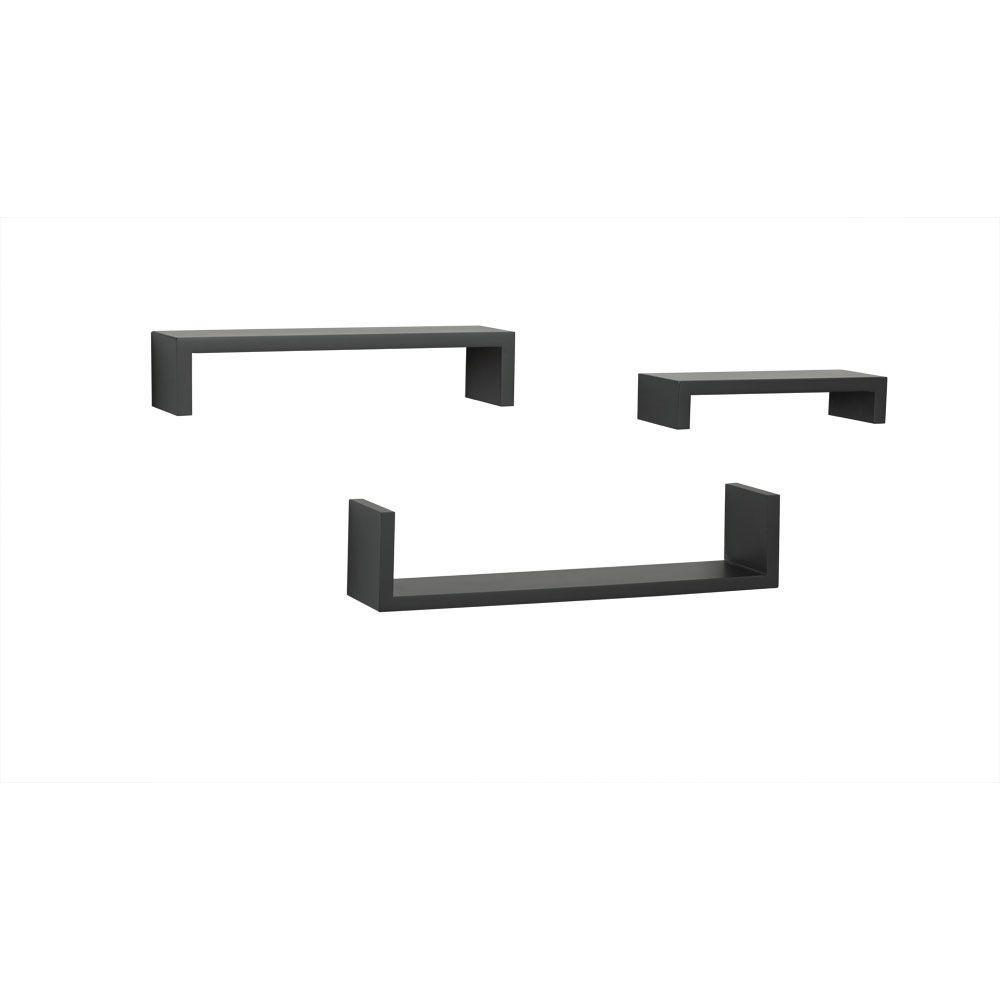 4 in. x 18 in. Floating Black Ledge Set Decorative Shelf