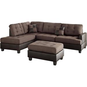 Admirable Venetian Worldwide Genoa 3 Piece Sectional Sofa In Chocolate Gmtry Best Dining Table And Chair Ideas Images Gmtryco