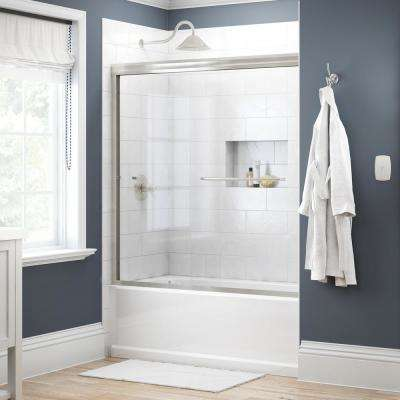 Simplicity 60 in. x 58-1/8 in. Semi-Frameless Traditional Sliding Bathtub Door in Nickel with Clear Glass