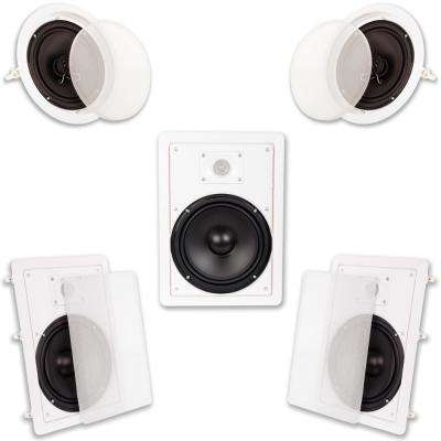 In Wall/Ceiling 1500-Watt 8 in. Home Theater 5 Speaker System