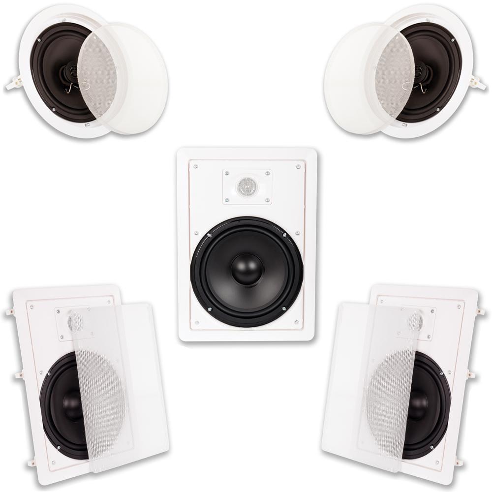 In Wall/Ceiling 1500-Watt 8 in. Home Theater 5 Speaker System