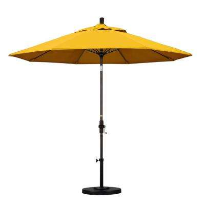 9 ft. Fiberglass Collar Tilt Patio Umbrella in Yellow Pacifica