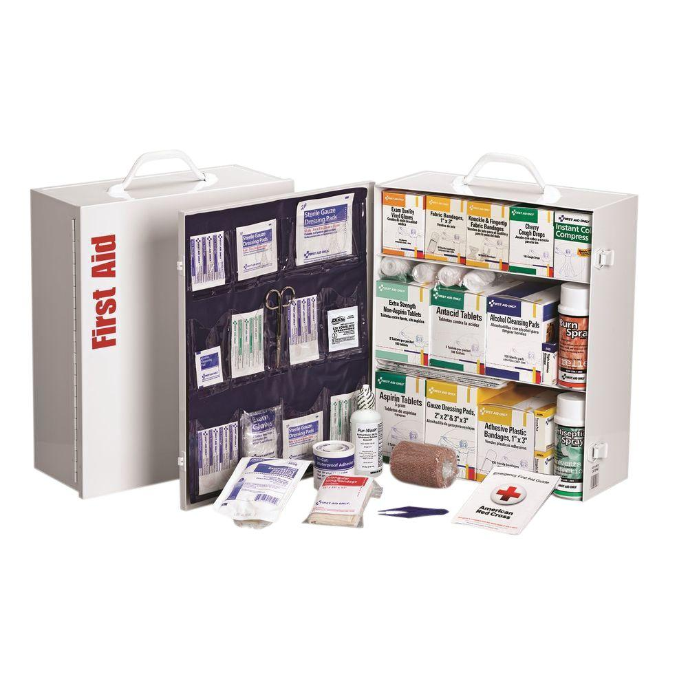 1092-Piece 3 Shelf Metal Industrial First Aid Kit Station with Pocket