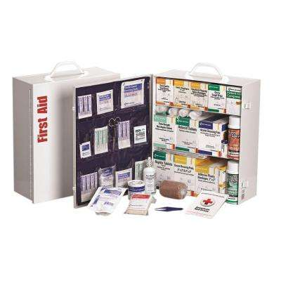 1092-Piece 3 Shelf Metal Industrial First Aid Kit Station with Pocket Liner
