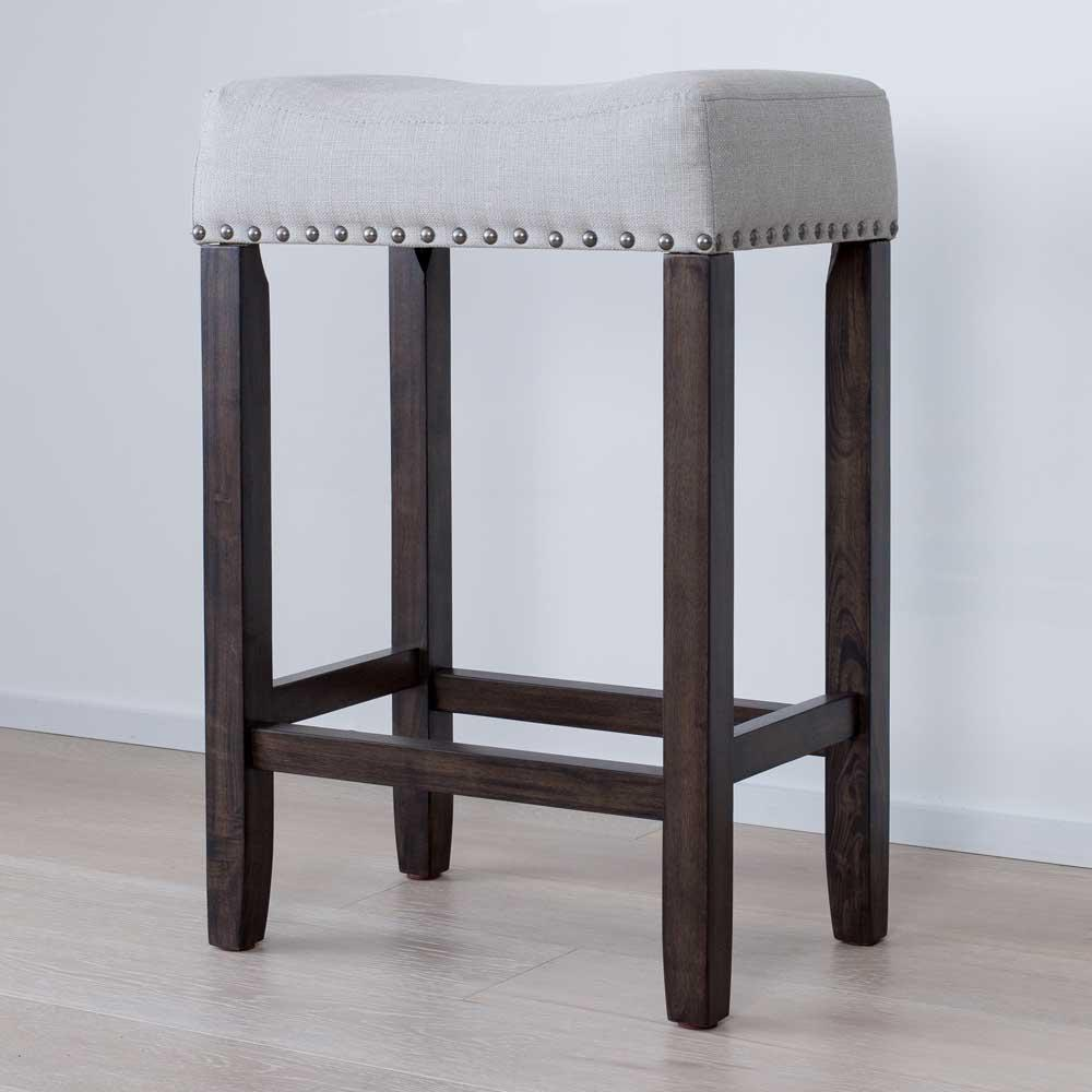 Hylie Nailhead 24 in. Dark Brown and Gray Cushioned Bar Stool