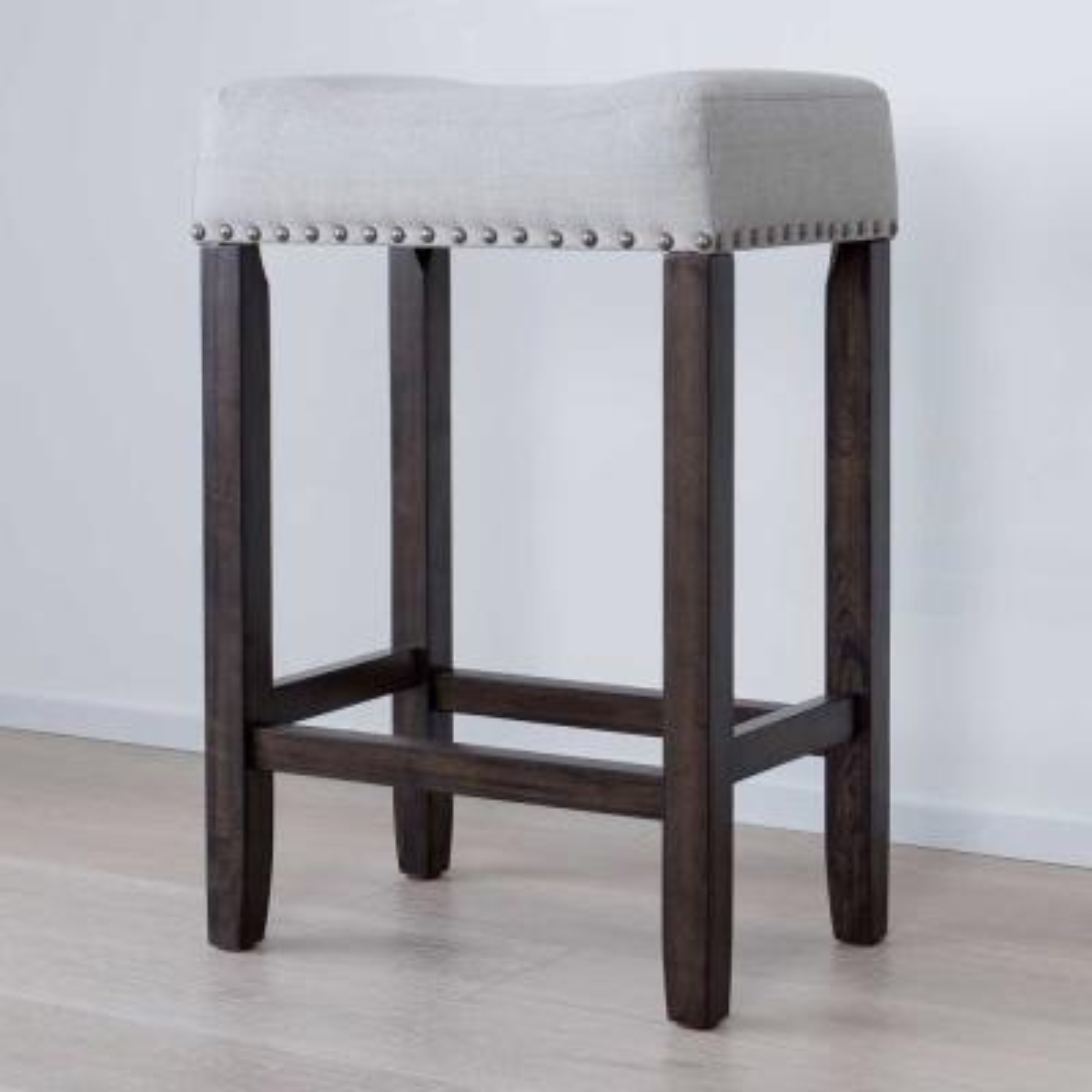Hylie 24 in. Gray Fabric Cushion Dark Brown Finish Nailhead Wood Pub-Height Counter Bar Stool
